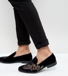 ASOS Wide Fit Loafers in Black Velvet With Dragon Embroidery - Black
