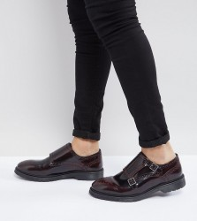 ASOS Wide Fit Monk Shoes In Burgundy Leather - Red