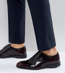 ASOS Wide Fit Oxford Brogue Shoes In Burgundy Leather - Red