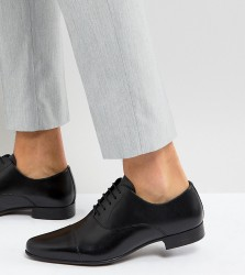 ASOS Wide Fit Oxford Shoes in Black Leather With Toe Cap - Black