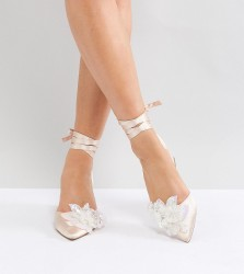 ASOS WONDERLUST Bridal Wide Fit Embellished Mid Heels - Beige