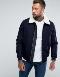 ASOS Wool Mix Harrington Jacket With Borg Collar In Navy - Navy