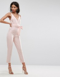 ASOS Wrap Front Jumpsuit with Peg Leg and Self Belt - Pink