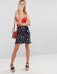 ASOS Wrap Mini Skirt with Tie Waist in Floral Print - Multi