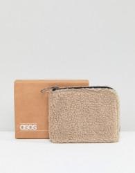 ASOS Zip Around Wallet In Cream Borg - Cream