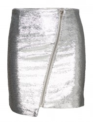 Asymmetric Zip Mini Skirt
