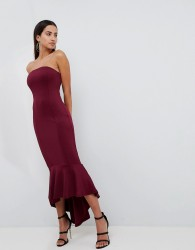 AX Paris Bandeau Midiaxi Dress With Peplum Hem - Purple
