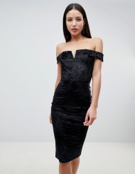 AX Paris Bardot Velvet Midi Dress - Black