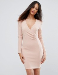 Ax Paris Blush Bodycon Ruched Dress - Pink