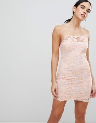Ax Paris Blush Floral Mesh Embroidered Bodycon Dress - Pink