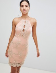 AX Paris Bodycon Dress With Contrast Lace Detail - Pink