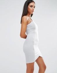 AX Paris Bodycon Mini Dress With Asymmetric Hem - Grey