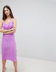 Ax Paris Bow Front Midi Dress - Purple