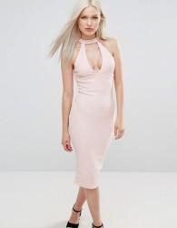 AX Paris Choker Neck Midi Bodycon Dress - Pink