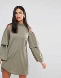 AX Paris Cold Shoulder Frill Sleeve Shift Dress - Green