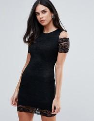 AX Paris Cold Shoulder Lace Bodycon Dress - Black