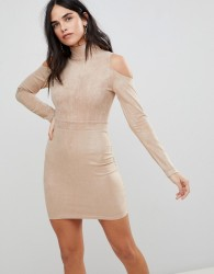 AX Paris Cold Shoulder Long Sleeve Bodycon Dress - Pink