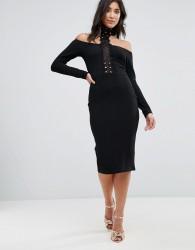 AX Paris Crochet Detail Choker Neck Midi Dress - Black