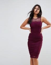 Ax Paris Crochet Lace Midi Dress With Scuba Back - Purple