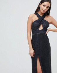AX Paris Cross Front Maxi Dress With Side Split - Black