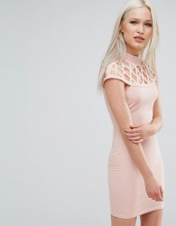 AX Paris Dress With Lace Insert - Pink