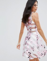 AX Paris Floral Skater Dress With Mesh Panels - Cream