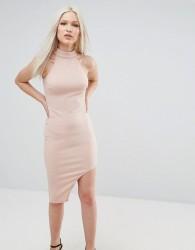 AX Paris High Neck Asymmetric Bodycon Dress - Pink
