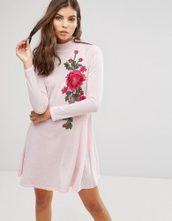 AX Paris High Neck Knitted Swing Dress With Embroidery Detail - Pink