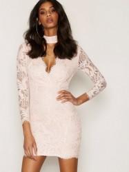 Ax Paris Lace Choker Bodycon Dress Kropsnære kjoler Pink