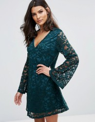 AX Paris Lace Dress With Fluted Sleeves - Green