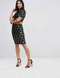 AX Paris Lace Metallic Leaf Pencil Skirt - Multi