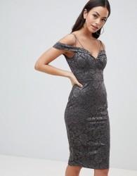 AX Paris Lace Pencil Dress With Sleeve - Grey