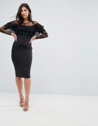AX Paris Long Sleeve Overlay Midi Dress With Lace Detail - Black