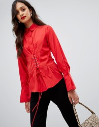 AX Paris long sleeve shirt with corset detail - Red