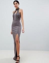 AX Paris Maxi Dress With Lace Detail & Side Split - Grey