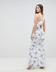 Ax Paris Maxi Dress With Tie Back In Floral - White