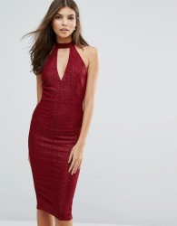 AX Paris Midi Bodycon Dress With Choker Detail - Red