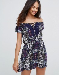 Ax Paris Navy Printed Dress With Lace Detail - Navy