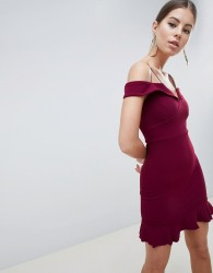AX Paris Off Shoulder Fitted Dress With Frill Hem - Purple