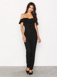 Ax Paris Off shoulder Frill Jumsuit Jumpsuits Black