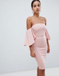 AX Paris off the shoulder midi dress - Pink
