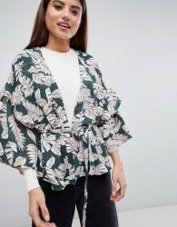 AX Paris Palm Print Kimono - Green