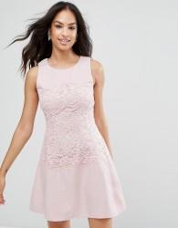 Ax Paris Pink Lace Waist Skater Dress - Pink