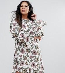 AX Paris Plus Ruffle Sleeve Dress - Multi