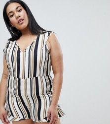 AX Paris Plus Stripe Playsuit - Multi