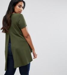 AX Paris Plus T-Shirt With Dip Hem - Green