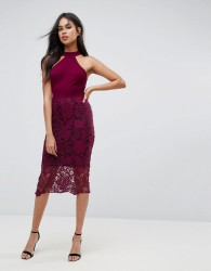 AX Paris Racer Neck Midi Dress With Crochet Lace Skirt And Contrast Lining - Purple