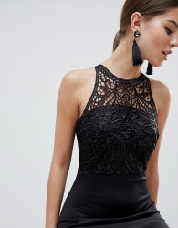AX Paris Racerneck Lace Midi Dress - Black
