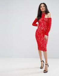 Ax Paris Red T-Bar Lace Choker Midi Dress - Red