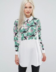 Ax Paris Shirt With Printed Insert - White